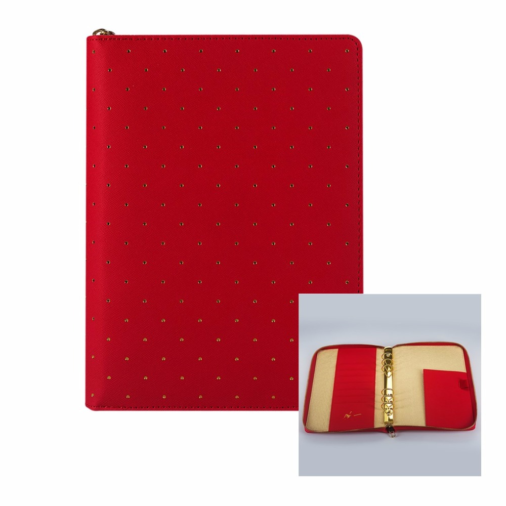 Limited Edition Polka Dot Red A5 Loose Leaf Spiral Zip Zipper Notebook Organizer Agenda Daily Memo with Fashion design