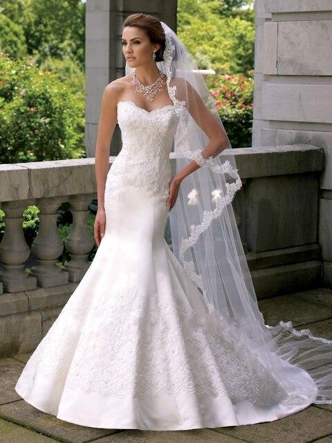 25e67b43d594 Plain White Wedding Dress Mermaid Satin with Lace Bridal Gown Off Shoulder  vestidos de novia casamento Sweet Neckline