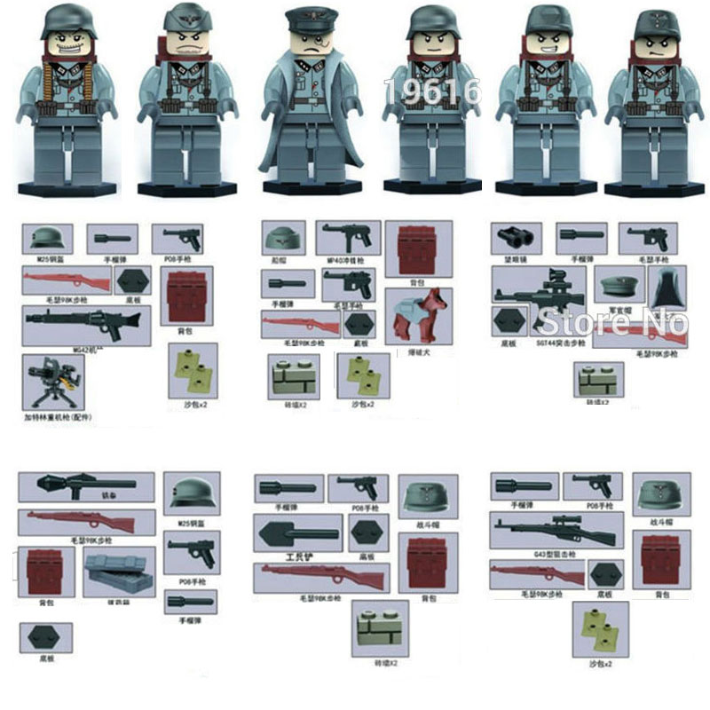 Oenux WW2 German Panzer Division Guard Military Figure Building Blocks World War 2 Army Soldier With Weapons Model Brick Kid Toy цена