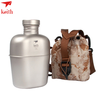 Keith Army Style Patrol Water Bottle Canteen Sport Camping Travel Hiking Military Canteen Ultralight Titanium Drinkware