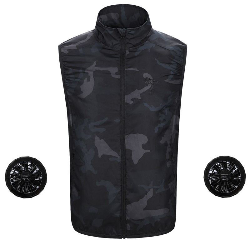 Men Camouflage Hiking Vest Air Conditioning Clothes USB Fan Cooling Outdoor Hunting Fishing Vest Women Plus Size Waterproof Vest