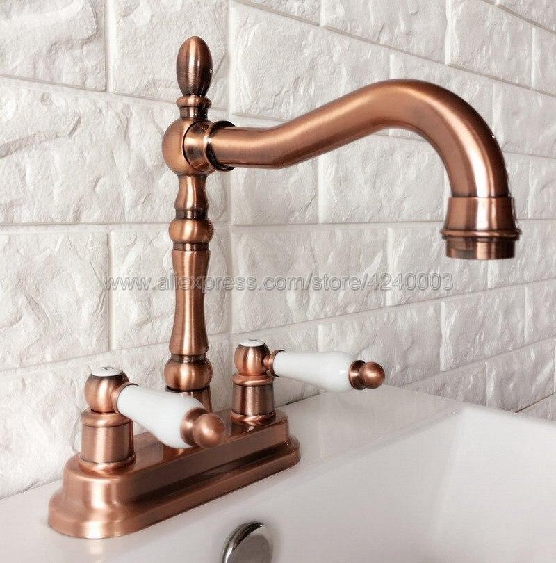 Antique rouge cuivre bassin robinet salle de bains bassin robinets Double poignée vanité deux trous mélangeur robinets d'eau Krg049