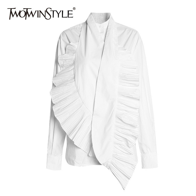 TWOTWINSTYLE Long Sleeve White   Shirt   Tops Female with Ruched Ruffle Craft Women Casual   Blouse     Shirts   2020 Autumn Fashion New