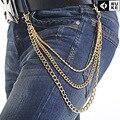 Nova marca de Moda Jeans Calças Calças Cinto Cadeias Correntes de Ouro Homem Mulher Liga Chapeamento 3 pcs