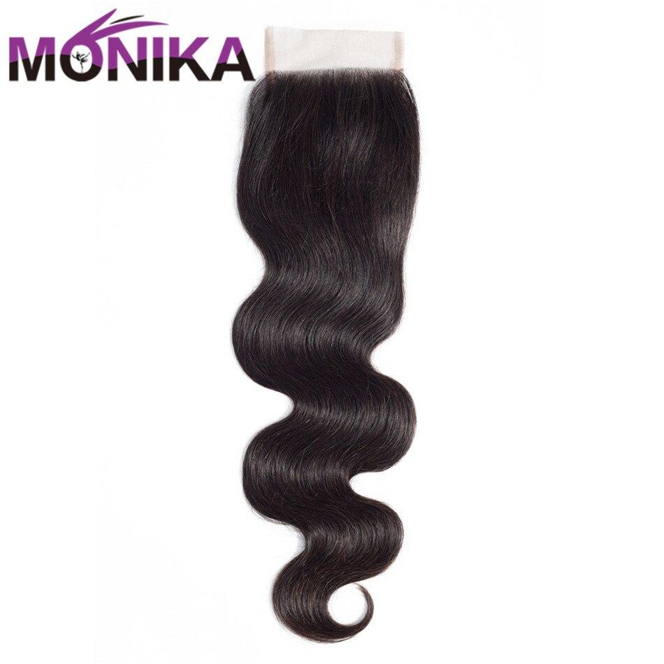 Monika Hair Lace Closure Malaysian Body Wave Human Hair Lace Closure Natural Color 8-22 1pc/lot