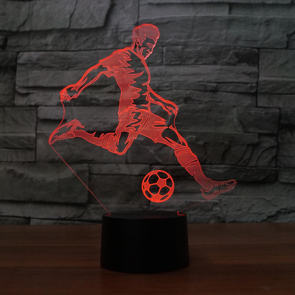 3D Led Table Lamp Kids Bedroom Bedside Sleep Playing Football Modelling Touch Button Usb Home Decor Soccer Player Night Lights led chelsea football club 3d lamp usb 7 color cool glowing base home decoration table lamp children bedroom night lights