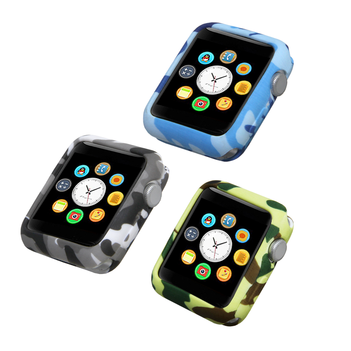 TPU camouflage shell Case for Apple Watch serise 3 2 Colorful PC Frame cover shell 38 mm 42 mm perfect match 6color bumper rock protective tpu pc bumper frame case for iphone 6 4 7 orange