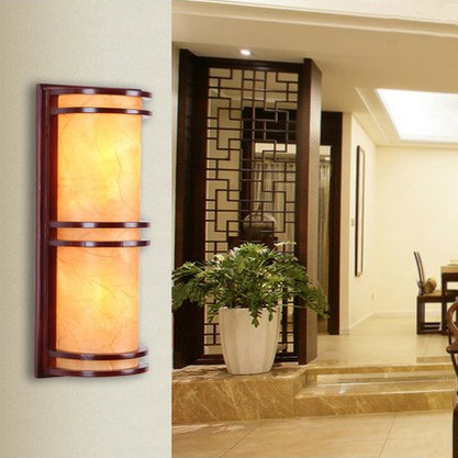 Chineses red wood art wall lamps Modern classic yellow PVC shade E27 2 LED bulbs lamp for bedroom&porch&stairs&studio QLBD0014 абажур classic shade 15 yellow donolux 1171302