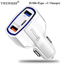 YWEWBJH Car USB Charger Quick Charge 3.0 Mobile Phone 2 Port 1Type C Fast for iPhone For Samsung