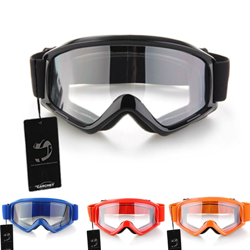 CARCHET Motocross Glasses Goggles Motocycle Enduro Off-Road Hemlet Windproof Glasses Goggles Clear Lenses Black Blue Orange