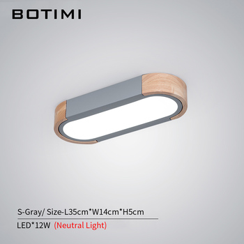 BOTIMI Office 220V LED Ceiling Lights With Metal Lampshade For Living Room Long Shaped Bedroom Wooden Surface Mounted Lighting 8