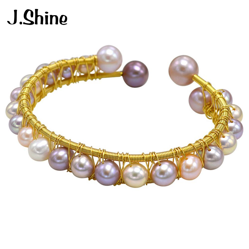 все цены на JShine Pure Cultured Pearl Open Cuff Bangles & Bracelets for Women Trendy Handmade Freshwater Pearl Bracelet Women Fine Jewelry