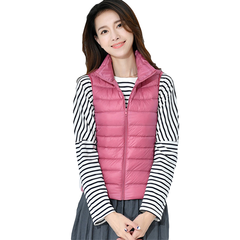 90% White Duck   Down   Jacket 2018 New Women Fashion Vest   Coats   Light Thin Short Sleeveless Outwear Spring Autumn   Down     Coat   YP0897