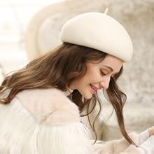 سيدة الخريف والشتاء غريس استعادة الصلبة الصوف القبعات المرأة Banqute الصوف الخالص ورأى قبعة بيريه صوف