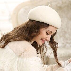 Image 1 - เลดี้ฤดูใบไม้ร่วงและฤดูหนาว Grace คืน Solid ขนสัตว์หมวกผู้หญิง Banqute Pure Wool Felt Beret หมวก