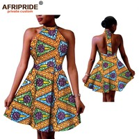 2019 summer sexy club dress for women AFRIPRIDE african print sleeveless knee length women choker dress for party club A1825068