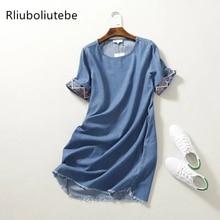 Летнее джинсовое платье с вышивкой, женское мини синее платье с круглым вырезом и короткими рукавами, прямое джинсовое платье с бахромой, Повседневное платье, туника