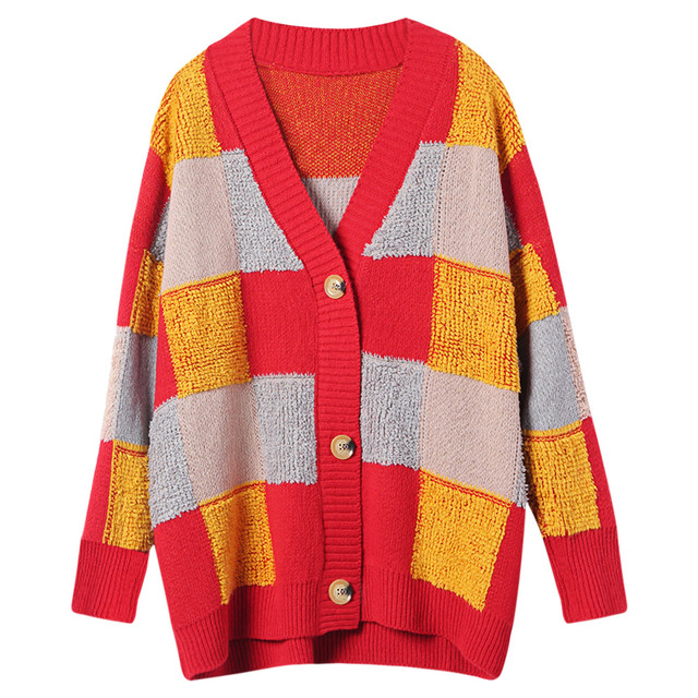 4baa9d5b0 Kenancy V Neck Long Sleeve Color Blocking Button Sweater Women ...