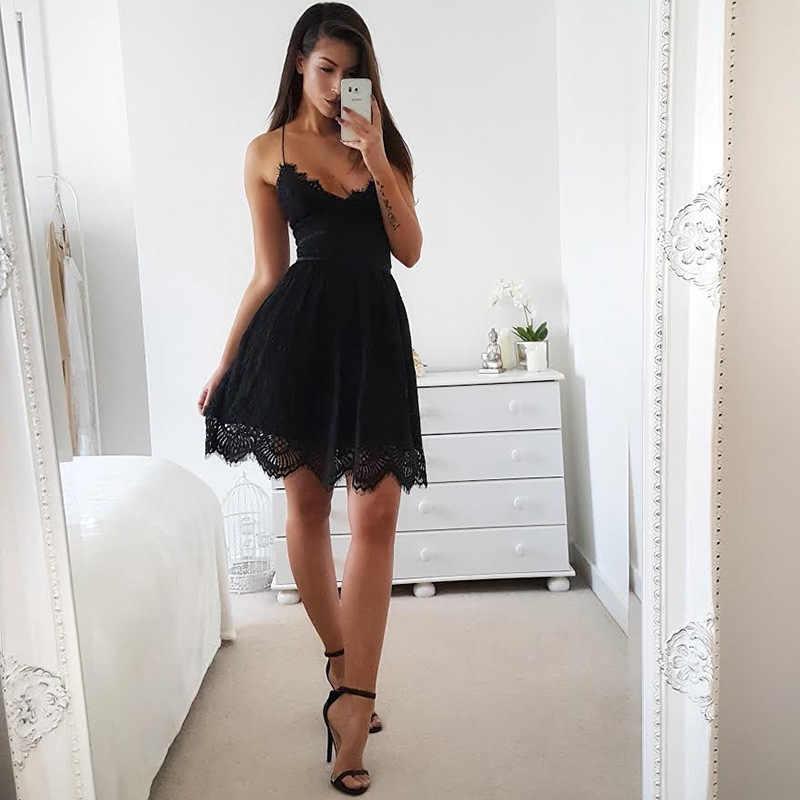 2019 dos nu Spaghetti sangle Sexy dentelle robe femmes sans manches col en v lâche robes d'été blanc noir élégant fête robes