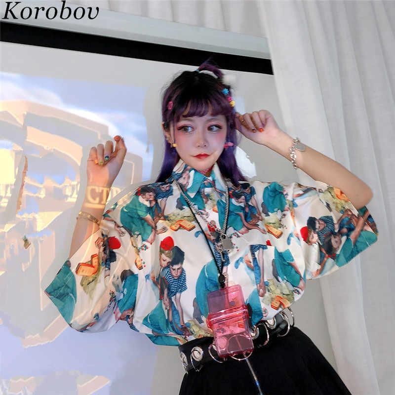 Korobov/винтажная Свободная Женская блузка с мультяшным принтом; повседневные летние рубашки с короткими рукавами; рубашка с отложным воротником; Feminina 77265