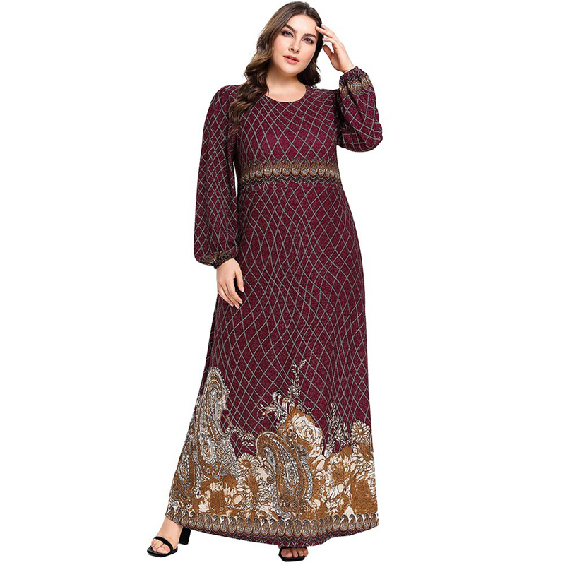 2019 Women Vintage Muslim Dress Long Lantern Sleeve Print Dresses Caftan Marocain Party Dresses Vestidos Plus Size M - 4XL