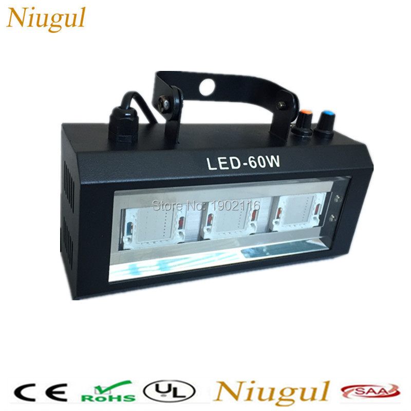 Niugul Amazing LED 60W Strobe White/RGB Color LED Flash disco dj lighting led lamp KTV Home party lights 60W LED strobe light 100w led strobe lights dmx sound control 100w white lighting disco party dj home music show projector stage light led flash lamp