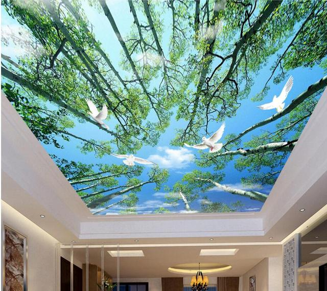 Custom Photo Ceiling Murals Wall Paper Fresh Trees And Blue Sky Decor Painting