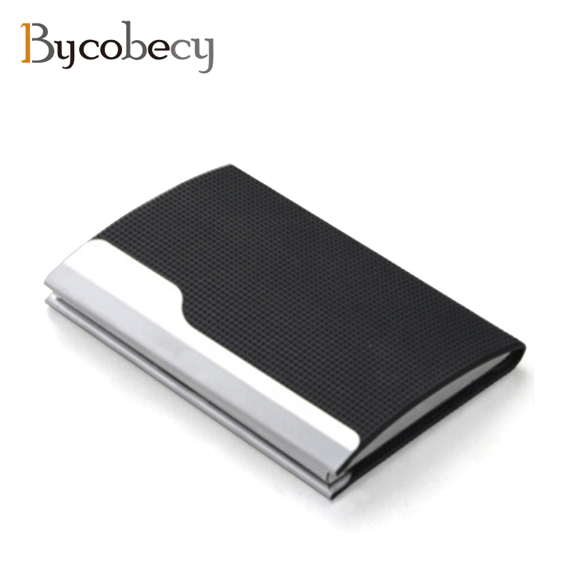 BYCOBECY Men Black Business Name Card Holder Large Capacity Lattice Card Box Aluminum Card Case PU Leather Card Case Gift