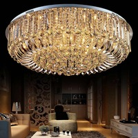 LAIMAIK Round LED Crystal Ceiling Light For LivingRoom Indoor Lamp With Remote Controlled Luminaria Home Decoration