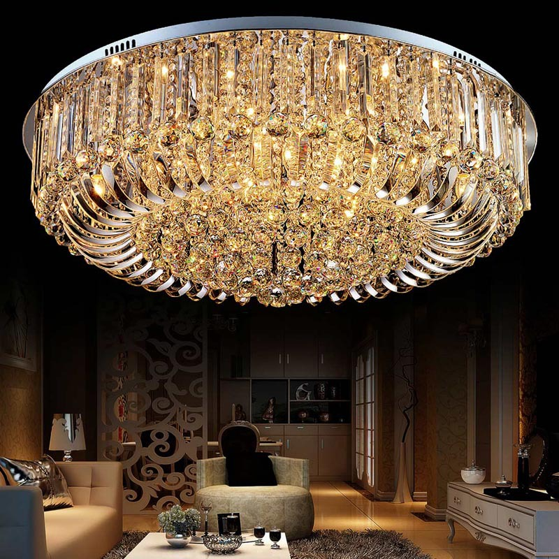 цены LAIMAIK Round LED Crystal Ceiling Light For LivingRoom Indoor Lamp with Remote Controlled luminaria home decoration FreeShipping