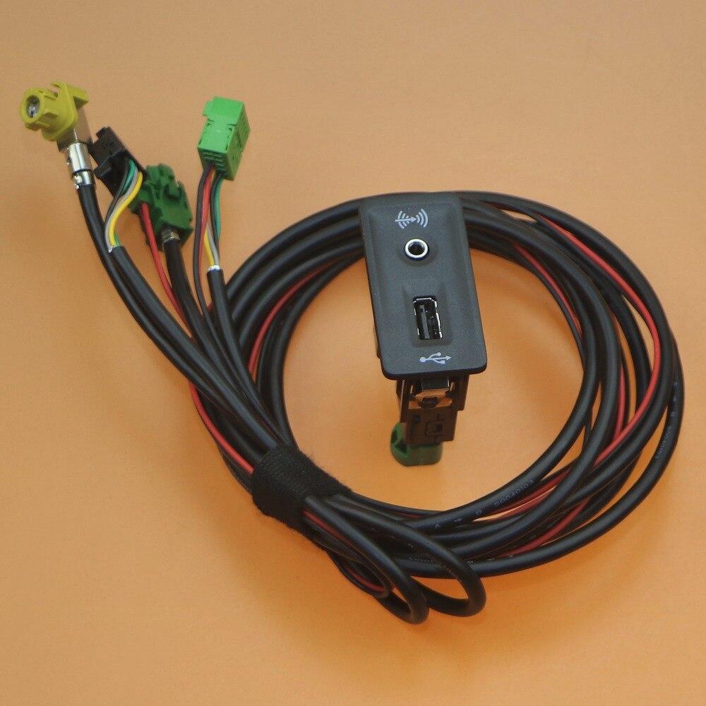 1 set Voiture AUX et USB Commutateur Adaptateur Harnais de Câble Queue De Cochon Pour Golf 7 5G0 035 222 E 5Q0 035 726 E 5G0035222E 5Q0035726E