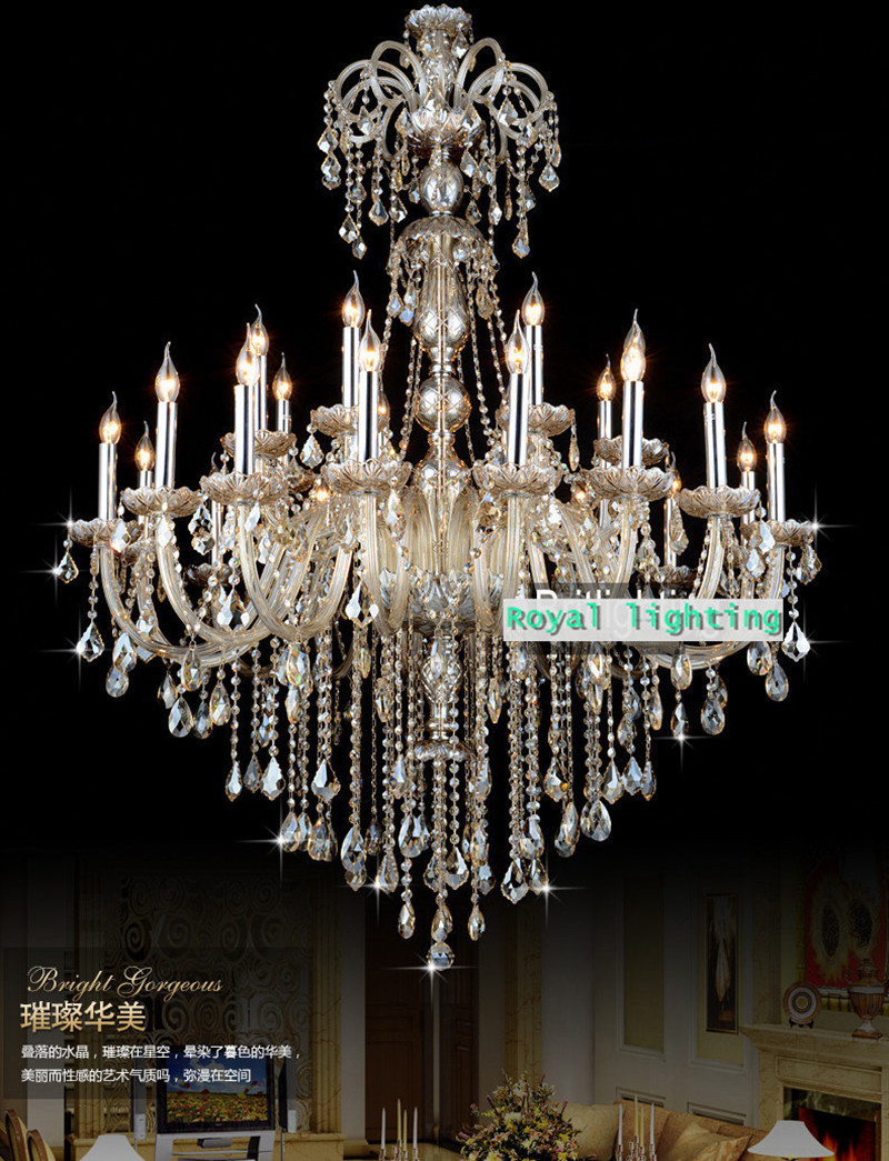 120cm Duplex house vintage Led chandelier crystal lamp grand hall lobby large cognac living room chandelier light candelabro LED