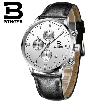 Genuine BINGER Quartz Male Watches Genuine Leather Watches Racing Men Students Game Run Chronograph Watch Male Glow Hands 2017 4
