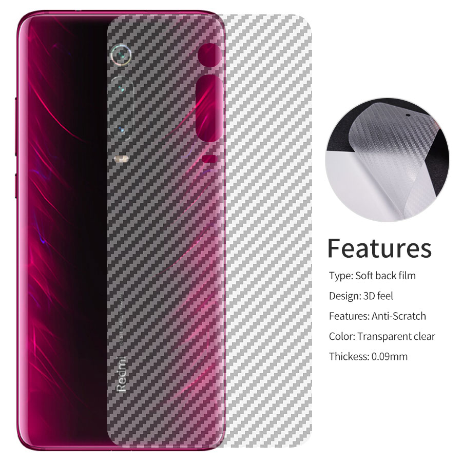 5Pcs/lot Soft Carbon Fiber Back Screen Protector Film For Xiaomi Mi 9T Xiomi Redmi K20 Pro K20 <font><b>Sticker</b></font> Full coverage protection image