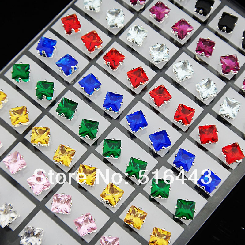 Promotion 144pcs Mix Cubic Zirconia Stainless Steel Fashion Square Stud Earrings for Womens Mens Wholesale Jewelry Lots A-660