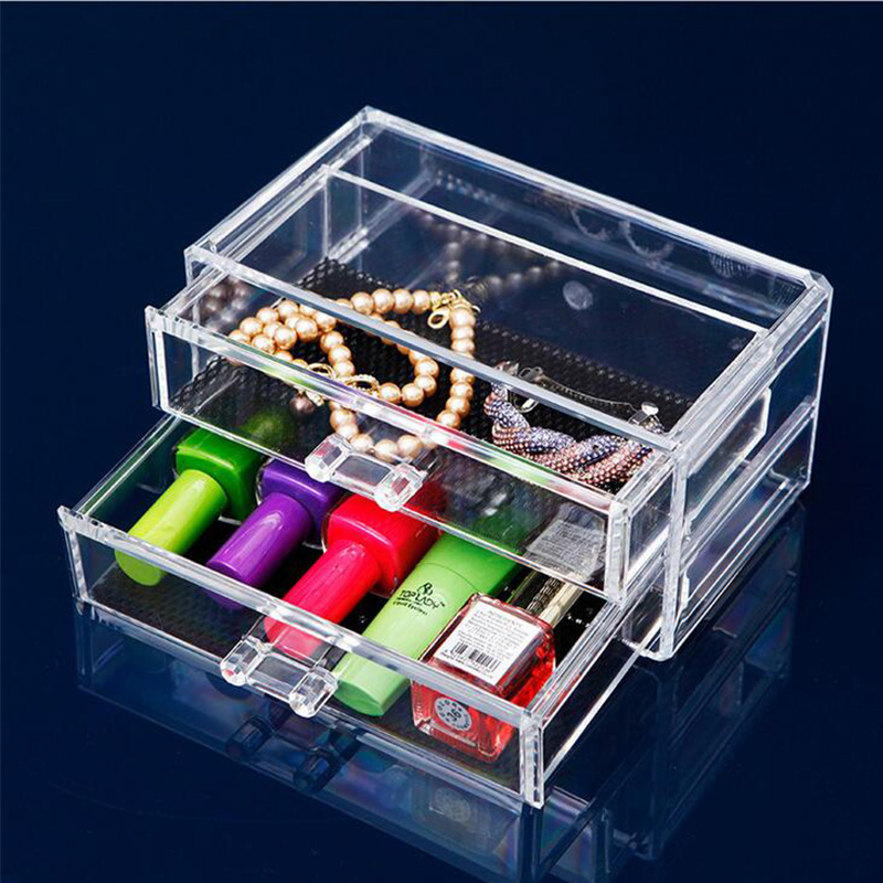 Hot Two Layer Jewelry Storage Box PS Transparent Drawer Storage Cabinets Cosmetics Boxes Organization Home Product High Quality