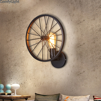 Surface Mounted Indoor Wall Lamp Vintage Loft Wall Light E27 Edison Bulb Plated Iron Retro Industrial Home Lighting Bedside Lamp