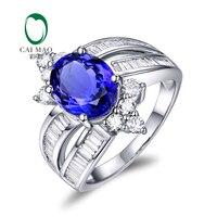 Caimao ювелирные изделия белого золота 18 карат 3.40ct натуральный танзанит и Алмазы обручальные кольца Бесплатная доставка
