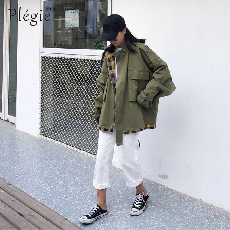 Plegie Harajuku Übergroßen Plaid Patchwork Jacke Frauen 2019 Frühling Neue Outwear Mantel Hip Hop Streetwear Lose BF Stil Jacken