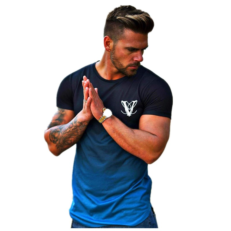 Men New Summer Fashion Jogging t shirt Gyms Fitness Gradient Color short  sleeve t shirt Tight Casual Quick drying O Neck Tops
