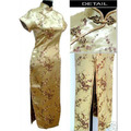 Hottest Gold Chinese Women's Rayon Cheongsam Top Long Qipao Formal Evening Party Dress Size S M L XL XXL XXXL 4XL 5XL 6XL S035-B