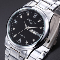 Fashion Business Man Watches Steel Quartz Watch Calendar Display Male Rhinestone Watches Men Women Wristwatches
