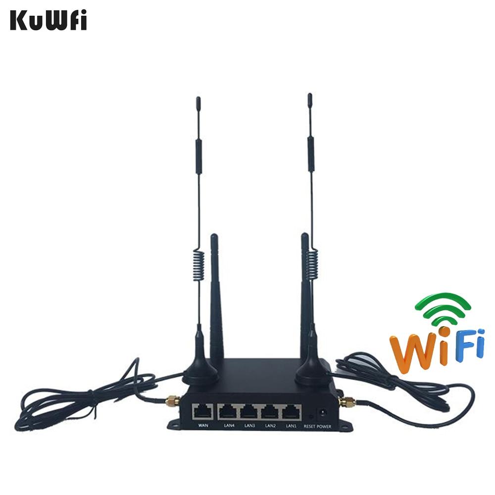 KuWFi High Power OpenWRT Industrial CarWiFi Router 300Mbps 4G LTE Wireless External Antenna 5 DBI Router Extender Strong Signal 300mbps wireless wifi router openwrt router english firmware router to produce wifi strong signal with usb port 4 5 dbi antenna