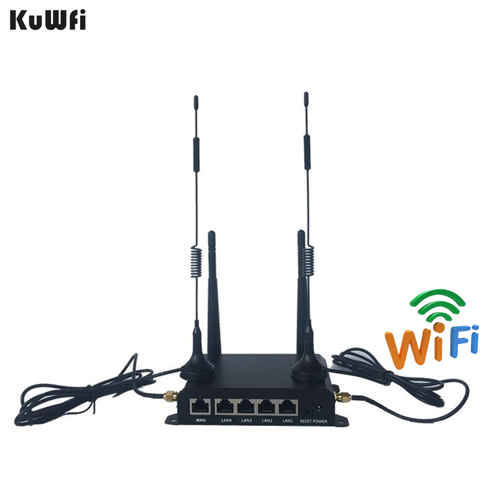 KuWFi High Power OpenWRT Industrial CarWiFi Router 300Mbps 4G LTE Wireless External Antenna 5 DBI Router Extender Strong Signal