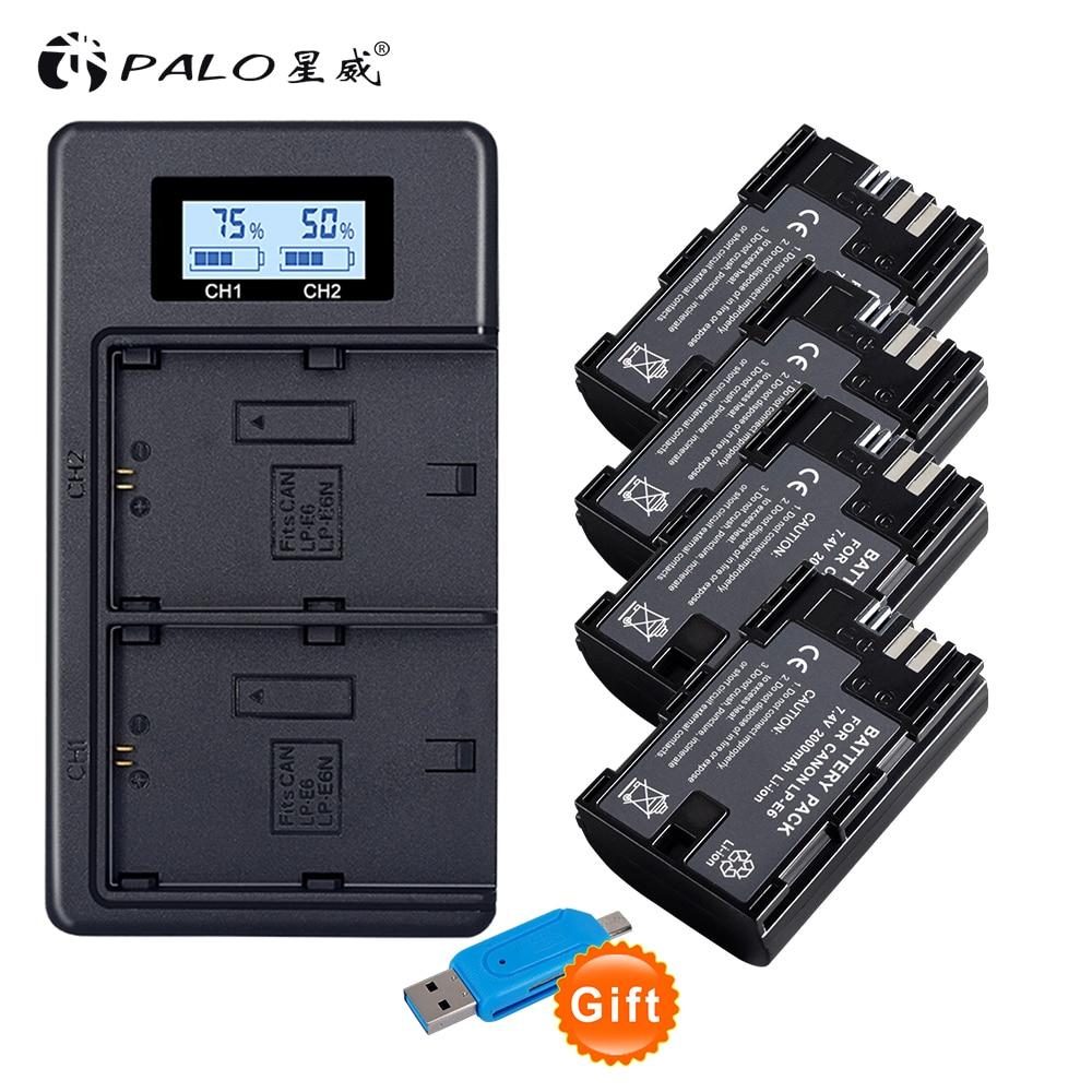 4x PALO lpe6 bateria lp e6 E6N LP-E6N LP-E6 batteria + LCD caricatore doppio per Canon 5D Mark II, Mark III 6D 7D 60D 60Da 70D 80D DSLR