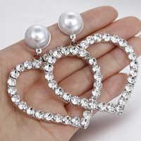 AENSOA Luxus Strass Ohrringe Für Frauen Big Herz Perle Kristall Einfache Korean Erklärung Baumeln Hochzeit Ohrring Schmuck Party