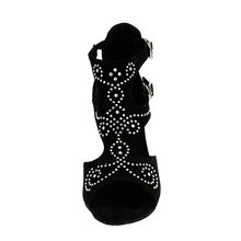 Evkoodance New Arrival Danza Latina Zapatos Salsa dance shoes 8.5cm colorful Rhinestones Latin dance shoes for woman Evkoo-401