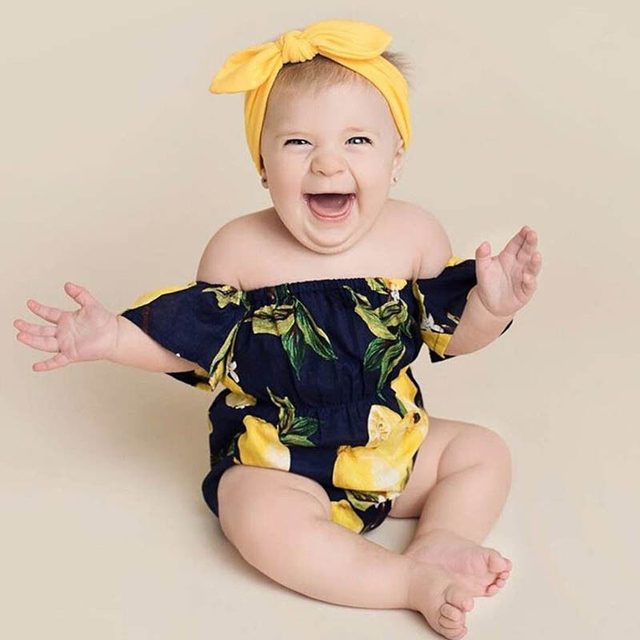 8e1e83fb68ce Cute Newborn Baby Girl Clothes 2018 Summer Off shoulder Pear Printed ...