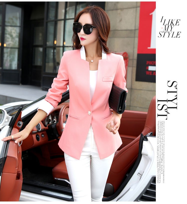 Autumn Spring Chic Office Ladies Stand Collar Blazers Pink Black Jackets For Gentle Women Silm Business Casual Wear Jaqueta Feminina bbbbbb
