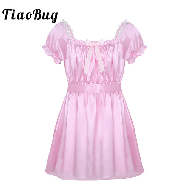 TiaoBug Men Short Sleeve Shiny Soft Satin Lace Cross-dress Lingerie Dress  with Sash Sissy